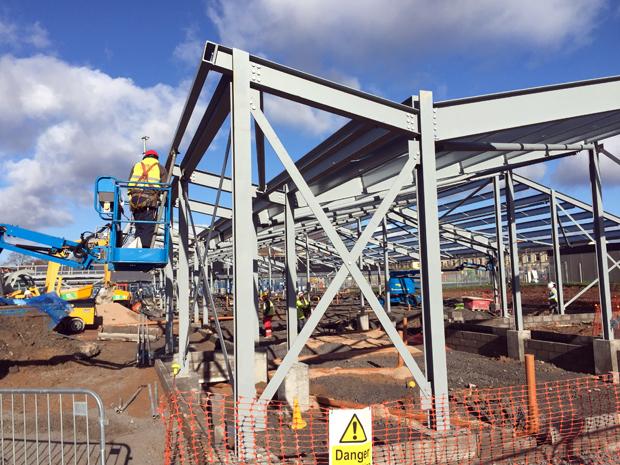 Hatcher-Prichard-Architects-Bristol-Cardiff_Adamsdown_Progress_Steel Frame Eaves