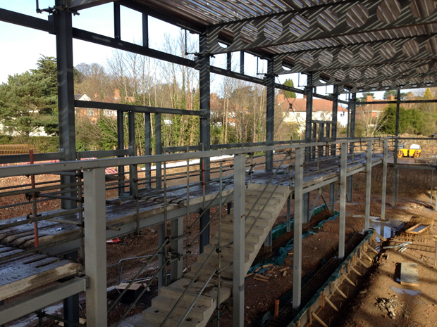 Hatcher Prichard Architects-Bristol Cardiff_Bristol Free School Under Construction_Sports Hall Balcony